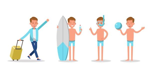 Muchacho adolescente viaja en la playa, practicando deporte y diseño de vectores de personajes de actividad.