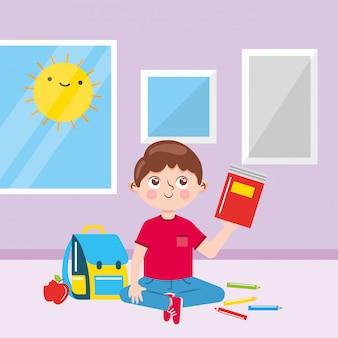 Muchacho en el aula entre útiles escolares y asomarse al sol. de vuelta a la escuela. ilustración