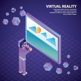 Muchacho isométrico de la realidad virtual 3d