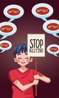 Muchacho joven adolescente con letras de stop bullying en pancarta de protesta