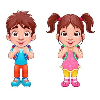 Muchacho joven divertido y una chica estudiantes personajes de vectores aislados de dibujos animados