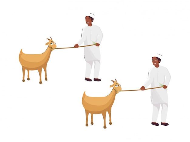 Muchacho joven musulmán que sostiene el tirón de la cuerda de la cabra en dos opciones en el fondo blanco.