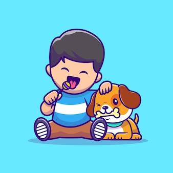 Muchacho lindo que come la piruleta con el perro que come el ejemplo del vector de la historieta del hueso. vector aislado del concepto de amor animal. estilo de dibujos animados plana