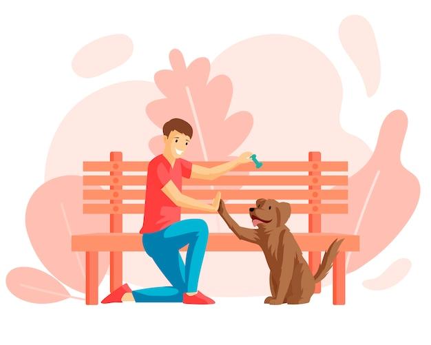 Muchacho y perrito que se sientan cerca del ejemplo plano del banco de parque. joven y amigo de cuatro patas al aire libre juntos, dueño de perro con personaje de dibujos animados de mascotas. amistad, cariño, sentimiento cálido