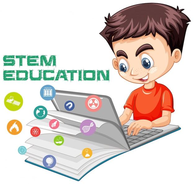 Muchacho que busca en la computadora portátil con el estilo de dibujos animados del logotipo de la educación de la madre