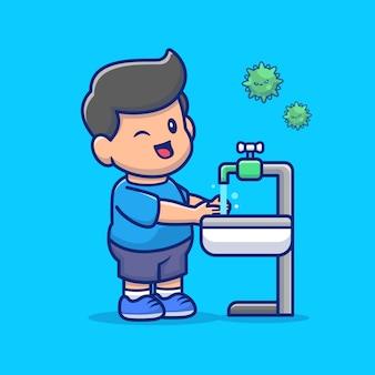 Muchacho que se lava la ilustración del icono de la mano. personaje de dibujos animados de mascota de personas sanas.