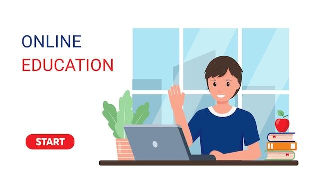 Muchacho sonriente alumno con portátil estudiando en línea en casa