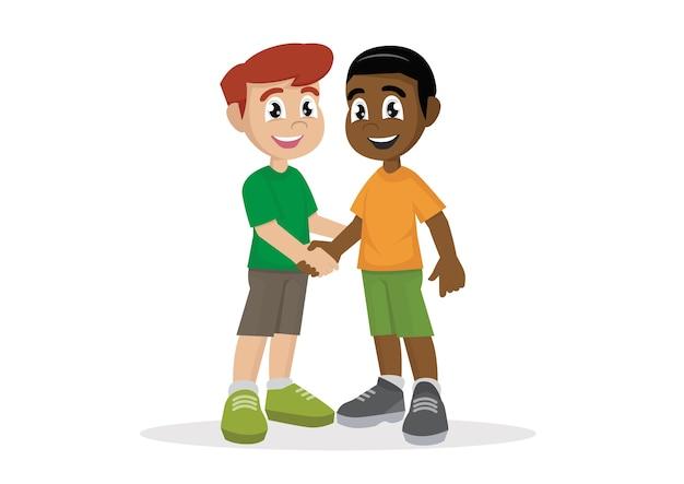 Muchachos dándose la mano.