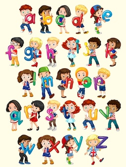 Muchachos y muchachas con la ilustración del alfabeto inglés
