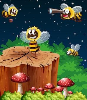 Muchas abejas viviendo en la escena del jardín por la noche.
