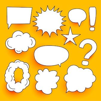 Muchas expresiones de burbujas de chat cómico establecen diseño