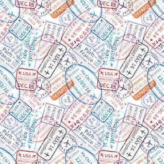 Muchas impresiones de sellos de goma de visa de viaje internacional, sin patrón