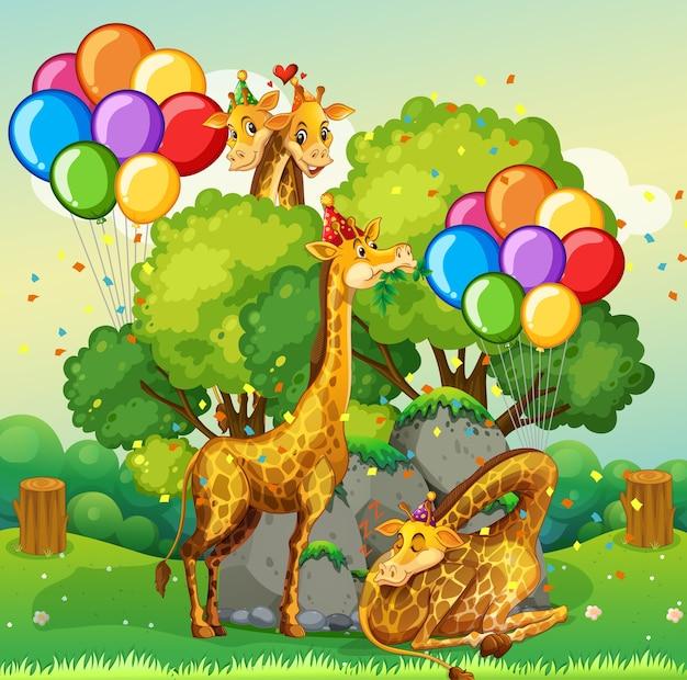 Muchas jirafas en el tema de la fiesta en el bosque de la naturaleza.