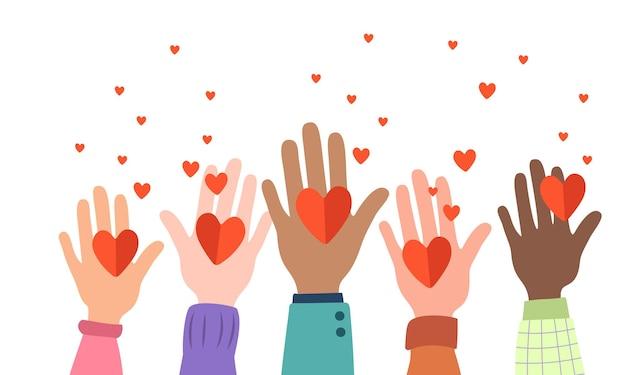 Muchas manos sostienen corazones. una comunidad unida, símbolo de amor, apoyo, protección. diferentes nacionalidades juntas por el trabajo en equipo, la unidad o la diversidad. ilustración vectorial plana