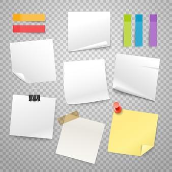 Muchas pegatinas de papel en blanco colección de vectores