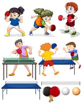 Muchas personas jugando ping-pong ilustración