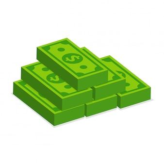 Muchos billetes de dólar apilados aislar en blanco