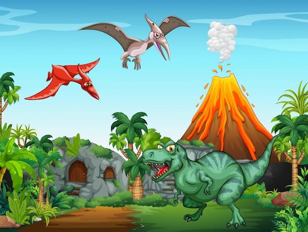 Muchos dinosaurios en el campo.