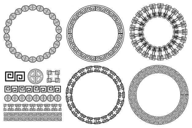 Muchos diseños de bordes con patrones asiáticos