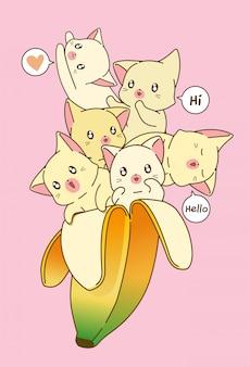 Muchos gatos en el banano.