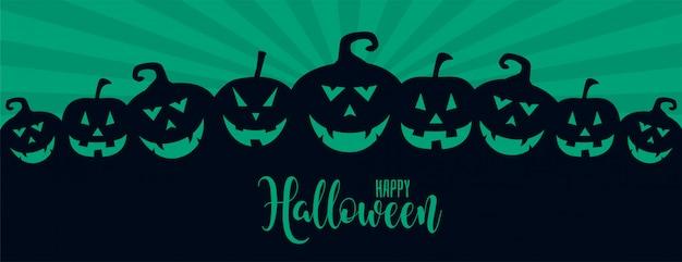 Muchos ilustración de calabazas riendo de halloween de miedo