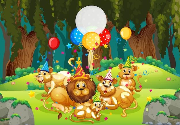 Muchos leones en el tema de la fiesta en el bosque de la naturaleza.
