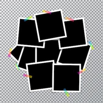 Muchos marcos de fotos para su diseño con cinta adhesiva transparente para su color