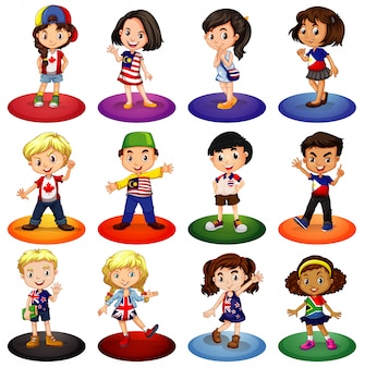 Muchos niños de diferentes países.