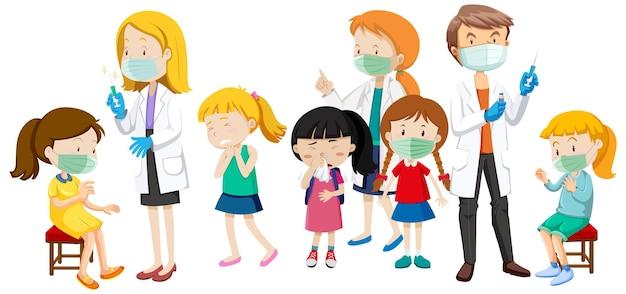 Muchos niños pacientes y médicos personaje de dibujos animados sobre fondo blanco.