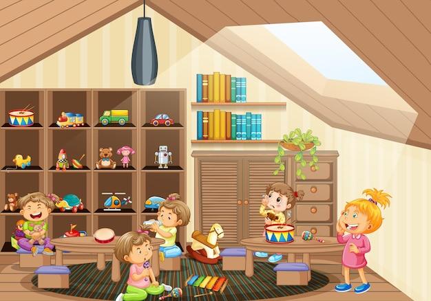 Muchos niños pequeños en la escena de la sala de jardín de infantes.