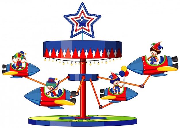 Muchos payasos montados en cohetes en el circo