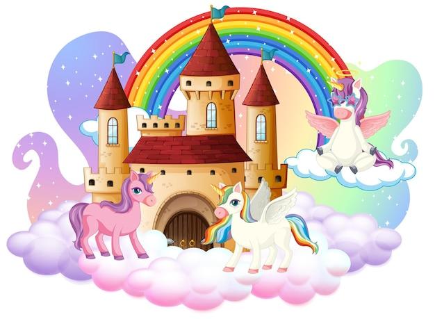 Muchos personajes de dibujos animados lindos unicornios con castillo en la nube