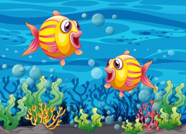 Muchos personajes de dibujos animados de peces exóticos en la ilustración submarina