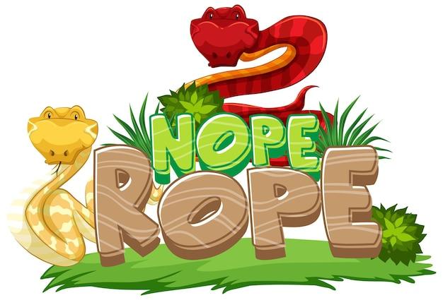 Muchos personajes de dibujos animados de serpientes con banner de fuente nope rope aislado
