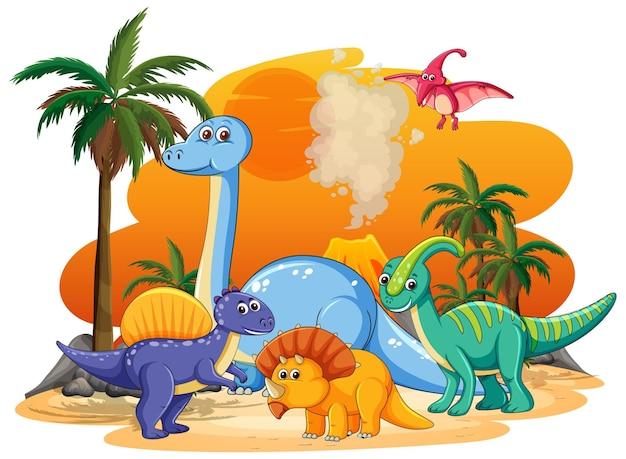 Muchos personajes de dinosaurios lindos en tierras prehistóricas aisladas