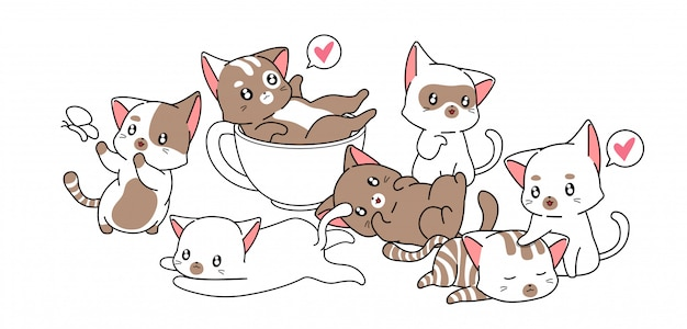 Muchos personajes de gatos lindos