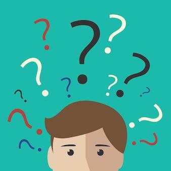 Muchos signos de interrogación multicolores sobre la cabeza de un joven o un niño. toma de decisiones, pensamiento, incertidumbre, concepto de aprendizaje. ilustración de vector eps 10, sin transparencia