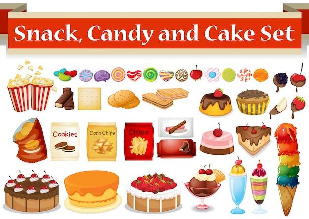 Muchos tipos de merienda y dulces ilustración
