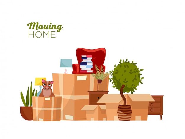 Mudanza con cajas a casa nueva.