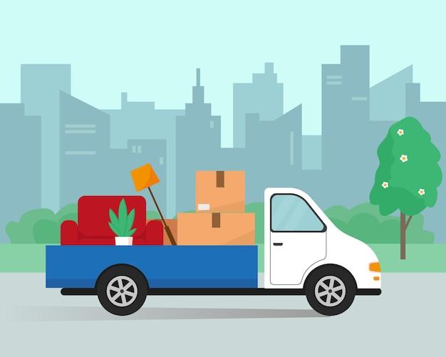 Mudarse a una nueva casa u oficina. furgoneta de reparto, sillón y cajas listas para mudarse.