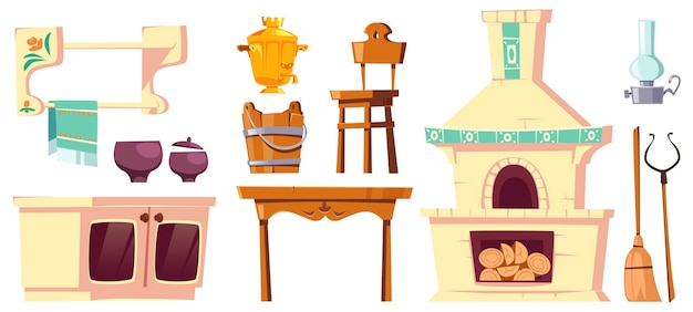 Muebles antiguos de cocina rusa rural con horno, samovar, mesa, silla y empuñadura.
