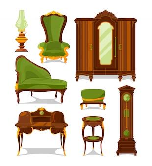 Muebles antiguos en estilo de dibujos animados. aislar