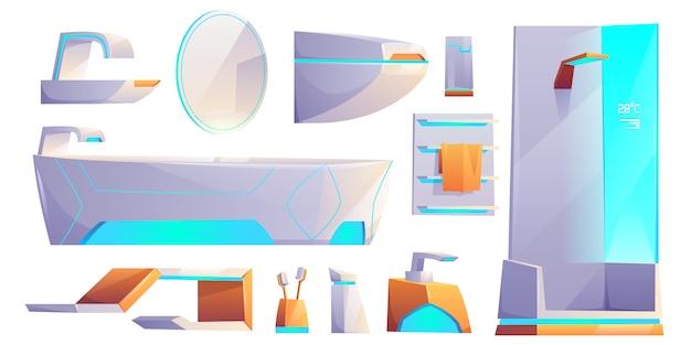 Muebles de baño futurista y cosas conjunto aislado. bañera, cabina de ducha, lavabo, toallero, inodoro, espejo, cepillos de dientes