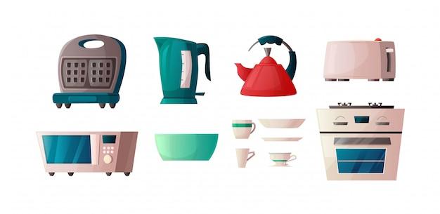 Muebles de cocina aislados sobre fondo blanco. gofrera, horno microondas, tetera, tostadora y horno. ilustración de dibujos animados para interior.