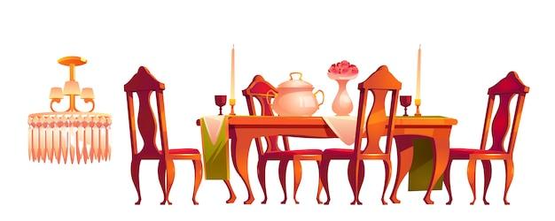 Muebles de comedor victoriano en estilo barroco.