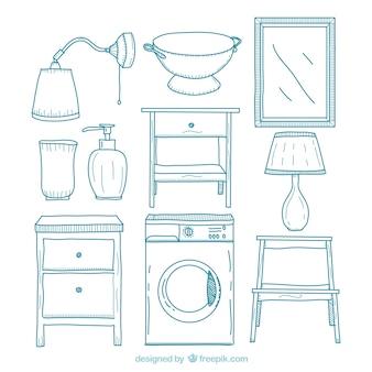 Muebles de hogar dibujados a mano