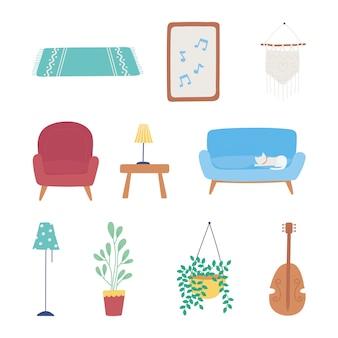 Muebles para el hogar sofá silla lámpara planta mesa marco decoración conjunto de iconos