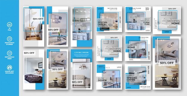 Muebles instagram stories y post banner set collection