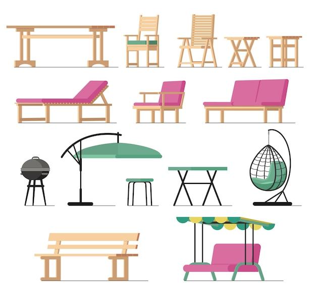 Muebles de jardín vector mesa silla asiento parrilla de carbón en terraza diseño exterior
