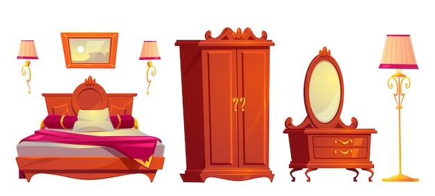 Muebles de madera de dibujos animados de vector para dormitorio de lujo